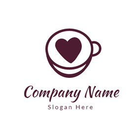 Red Heart and Coffee Cup logo design