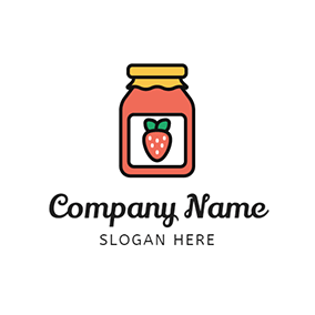 Red Jar and Strawberry Jam logo design