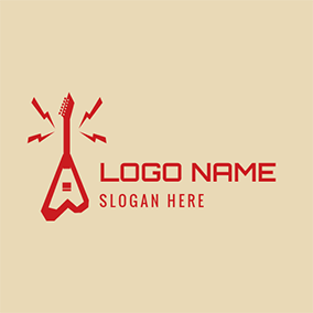 Red Lightning and Abstract Guitar logo design