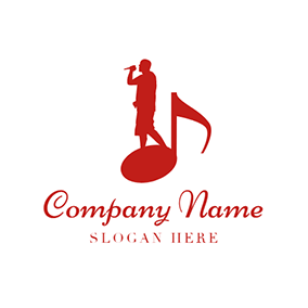 Red Note and Male Singer logo design
