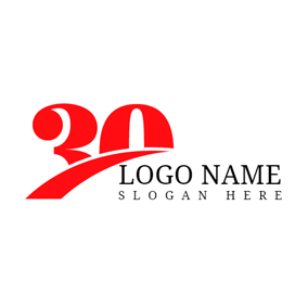 Red Number and 30th Anniversary logo design