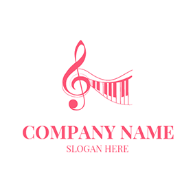 Red Piano and Note Icon logo design