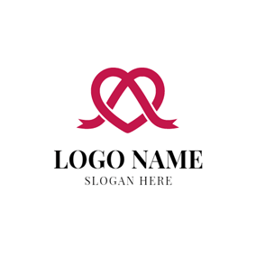 Red Ribbon and Heart logo design