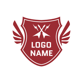 Red Shield and White Guitar logo design