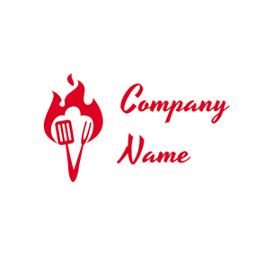 Red Shovel and Fork logo design