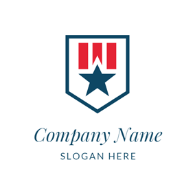 Red Stripe and Blue Star logo design