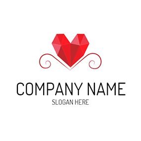 Red Three Dimensional Heart Icon logo design