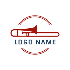 Red Trumpet and Jazz logo design
