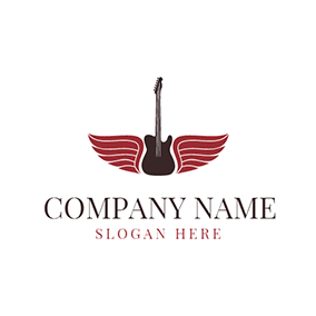 Red Wing and Brown Guitar logo design
