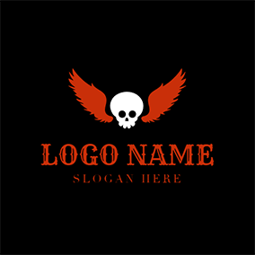 Red Wing and White Skull logo design