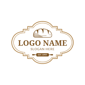 Rolling Pin and Bread logo design