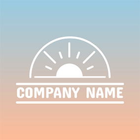 Semicircle Frame and Shining Sun logo design