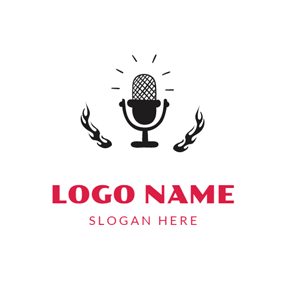 Shining Black Microphone logo design