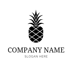 Simple Black Pineapple Outline logo design