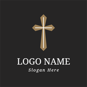 Simple Brown Cross logo design