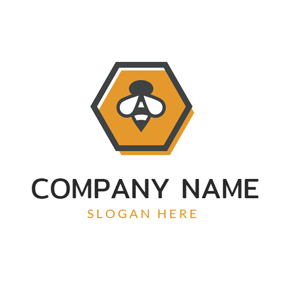 Simple Honeycomb and Bee logo design