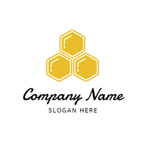 Simple Yellow Honeycomb logo design