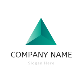 Solid Geometry Green Triangle logo design