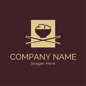 Square Chopsticks and Rice logo design