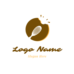Stirrer and Chocolate Cookies logo design