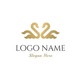 Symmetry Beautiful Golden Swan logo design