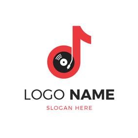 Turntable and Vinyl Icon logo design