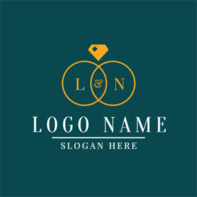 Twined Rings and Wedding logo design