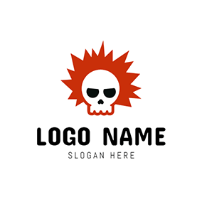 White and Black Skull Punk logo design