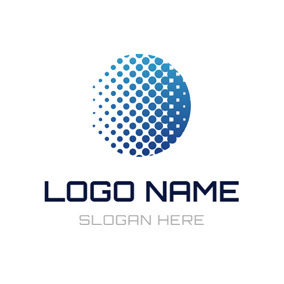 White and Blue Honeycomb Round logo design