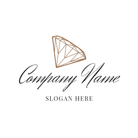 White and Brown Diamond logo design