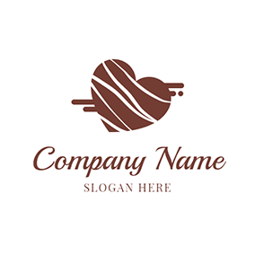 White and Brown Heart Chocolate logo design