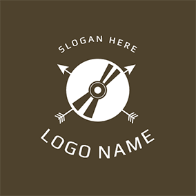White and Brown Record Icon logo design