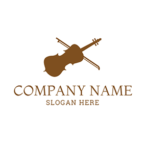 White and Brown Violin Icon logo design