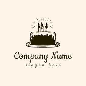 White and Chocolate Birthday Cake logo design