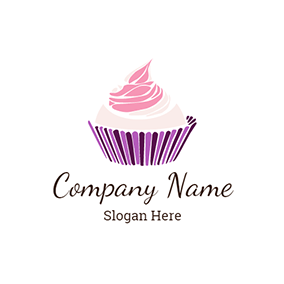 White and Pink Cupcake logo design