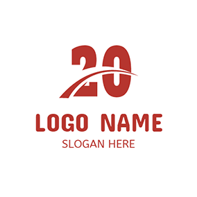White and Red 20th Anniversary logo design