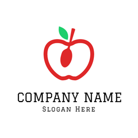 White and Red Apple logo design