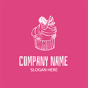 White and Red Cherry Cupcake logo design