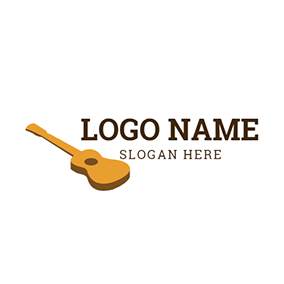 White and Yellow Ukulele Icon logo design