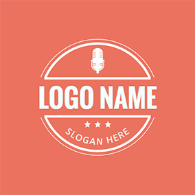 White Badge and Microphone logo design
