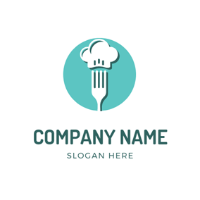 White Chef Cap and Fork logo design
