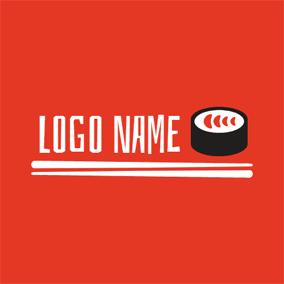 White Chopsticks and Salmon Sushi logo design