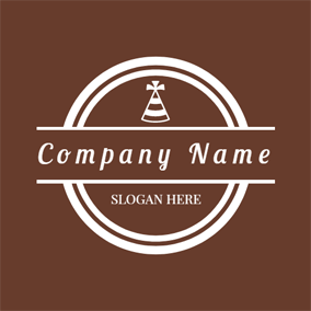 White Circle and Brown Hat logo design