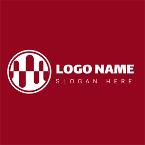 White Circle and Red Cylinder logo design