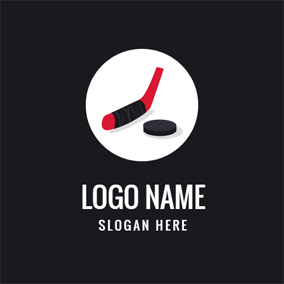 White Circle and Red Hockey Stick logo design