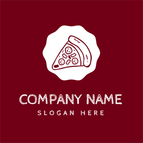 White Circle and Red Pizza logo design