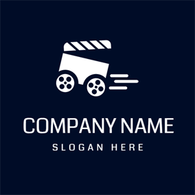 White Clapperboard and Blue Film logo design