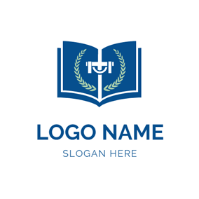 White Cross and Blue Book logo design