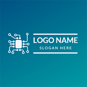 White Data and Semiconductor Icon logo design