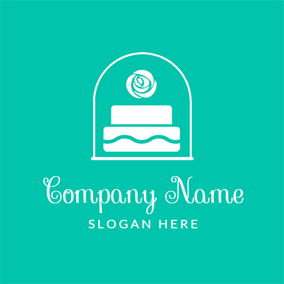 White Flower and Cake logo design